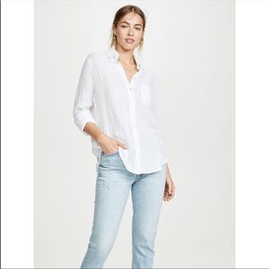 Rails Ellis Woven Cotton Button Down Top in White